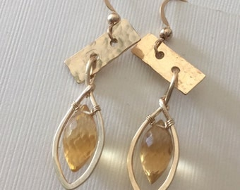 Assymetircal hammered gold-filled earrings with dewdrop shaped citrine beads/wire wrapped earrings