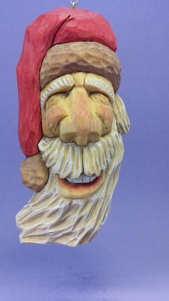 Hand carved santa claus big grin hanging ornament wood