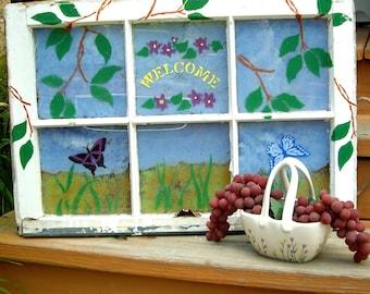 Old Vintage Hand Painted Window Decor