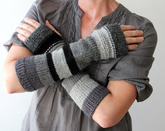 Hand knit urban rustic arm warmers / long fingerless gloves / gray scale / black / country boho / mix and match monochrome / winter arm cozy