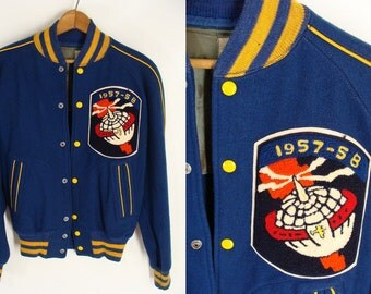Temporarily Reduced was 222.22 vintage 50s AACS Wool Jacket & 1957-1958 Patch Rare Emblem Style Atomic Space Age size 40 S M