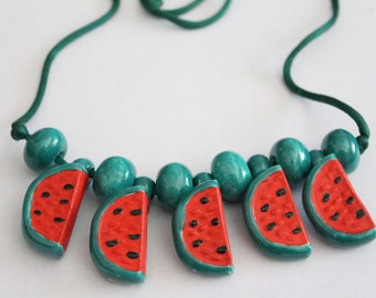 50% OFF SALE - Vintage funky watermelon necklace