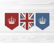 British Flag Banner Trio -- Vintage Union Jack, UK Flag, Union Flag, London Theme Party, Royal Crown Banner, Printable, Instant Download