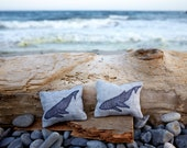 Set of Two Organic Lavender Sachets- Humpback Whale on Gray Linen