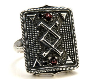 Inguz Ingwaz Rune Ring with Element Symbols and Rose Cut Garnets and Black Diamonds - Viking Cocktail Ring