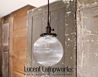 Lighting with Ribbed Glass Globe Shade - Holophane Style