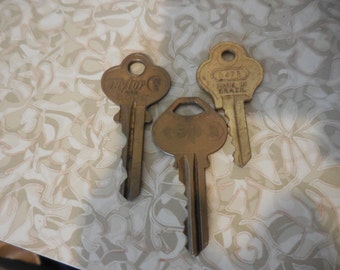 Vintage 1960s to 1980s Large Gold Tone Keys Set of (3) For Repurposing Jewelry Making Used Reuse Recycle