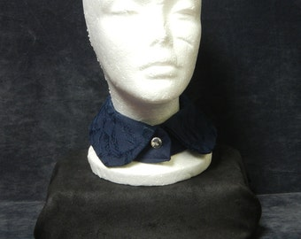 Navy Lace Collar