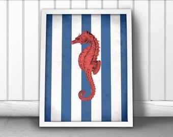 Nautical Seahorse Art Print, Seahorse Nautical Art Print, Nautical Art, Ocean Sea Art Print, Nautical Art Seahorse Poster, Nautical Stripes