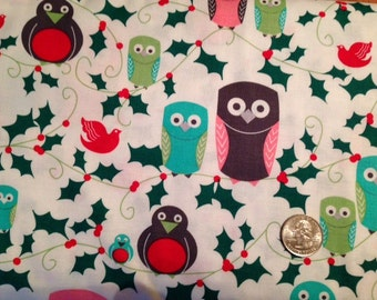 Michael Miller Ho Ho Hoot Premium Cotton Fabric 1/2 yd Christmas Holiday