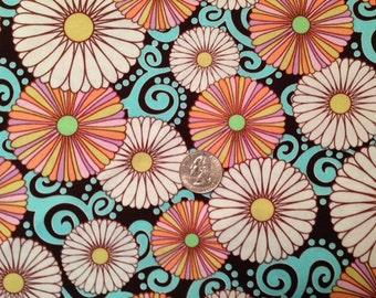 Michael Miller Floral Fushion 1/2 yard Premium Fabric Turquoise Brown