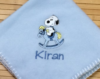 Embroidered Personalized Snoopy Rocking Horse Baby Blanket