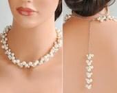 Back Drop Necklace, Swarovski Pearl Cluster Bridal Necklace, Wedding Necklace, Crystal and Pearl Cluster Backdrop Dangle Necklace, REGINA