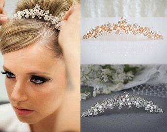 Bridal Tiara, Rose Gold Wedding Tiara, Swarovski Pearl Crystal Bridal Tiara, Vintage Style Flower Leaf Bridal Crown Accessories, TIMOTHEA