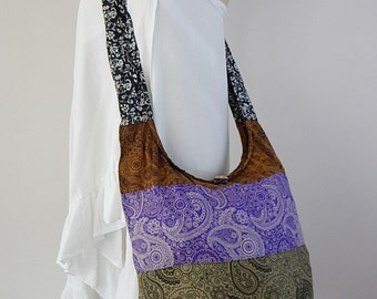 Cotton Sling Bag Purse Hobo Hippie Crossbody Messenger Paisley Patchwork OOAK Random Colors PWP