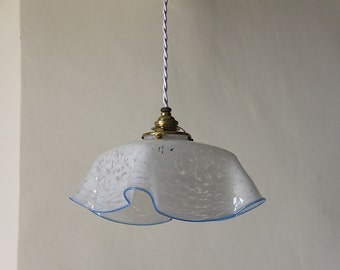 French Antique Marbled Opaline Glass Ceiling Light White  with a China Blue Trim