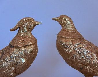 Pair Vintage Pheasants Gold Metal Table decoration