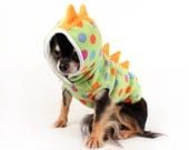 Dog Costume polka dot Dinosaur dog hoodie with orange spikes dog clothes