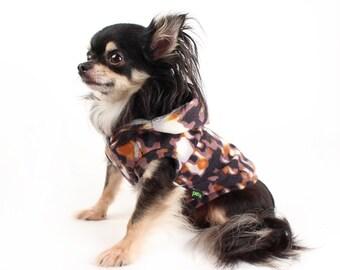 SALE  XS S Dog Hoodie Brown spash print cute Sleeveless dog sweater