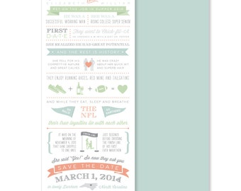 Custom Love Story Save the Date 9x4 - Design Fee