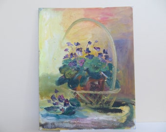 Vintage Oil Painting / IMPRESSIONIST Original Floral Still Life / 14 X 18 / 1960 to 1970