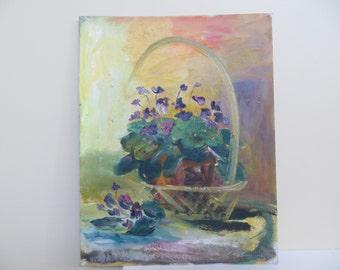 Vintage Oil Painting / IMPRESSIONIST Original Floral Still Life / 14 X 18 / unsigned