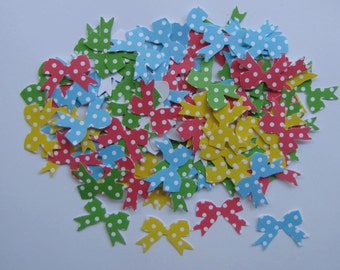 100 Bright Polka Dot Bows Hand Punched Embellishments, Confetti
