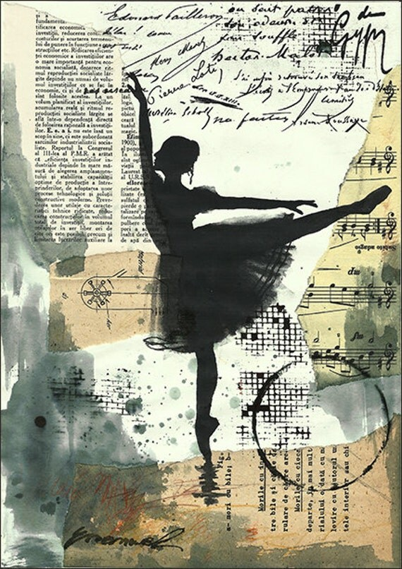 Print Art canvas Gift poster Mixed Media Art sketch Collage Painting Illustration Ballet One of A Kind Autographed Emanuel M. Ologeanu