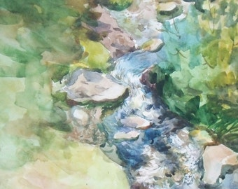 Little brook. Original Watercolor Painting.