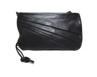 Black Leather Shoulderbag Purse Clutch Ande'
