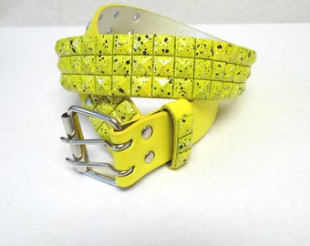 Studded Belt Leather Yellow Black