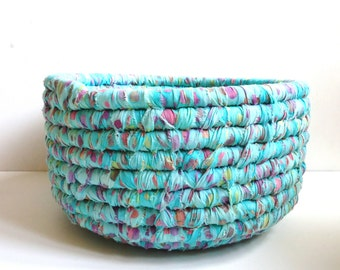 Fabric Coiled Basket, Mint Green Multicolored Batik Fabric, Storage Basket, Home Organization
