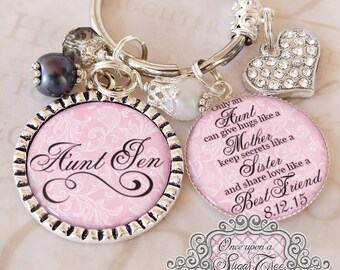 AUNT of the BRIDE - Gift - Personalized Aunt WEDDING Keychain (or necklace) Light Pink - Gift from Bride - Wedding Date Jewelry - Bridesmaid