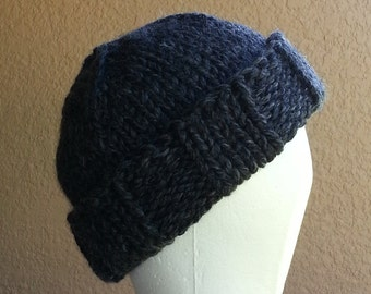 Stocking Cap, Watchcap, Longshoremans Hat, Beanie, Hand Knit Charcoal Grey Mens