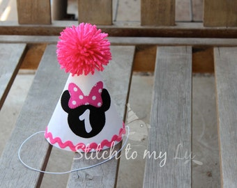 Birthday Hat Minnie Mouse HOT Pink White Black First Birthday Party 1st Birthday Outfit