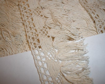 "Ecru Cluny Lace & Tassel Fringe trim 1.75"" wide cotton retro choose yards yardage sewing crafts costume home decor natural off white fringe"