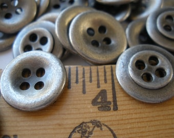 """Antique Silver Shirt Buttons Industrial Pewter 24L 15mm 5/8"""" 4 hole recessed sew on jewelry sewing crafts 12 pieces retro"""