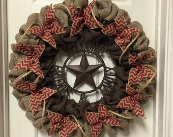 Burlap Wreath Red Western Front Door Decor Welcome Friends and Family