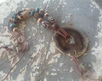 Bohemian Boho Necklace Macrame Jewelry Turquoise Agate Ooak Tribal