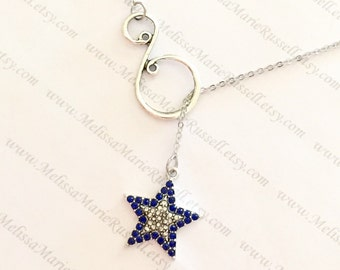 Silver and Blue Rhinestone Star and Swirl Lariat Necklace, Dallas Cowboys, handmade jewelry, holiday, Christmas gifts