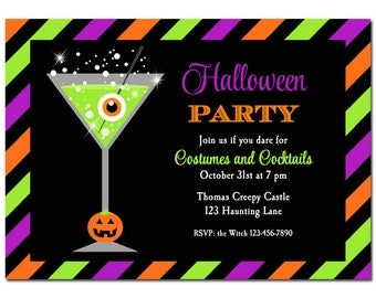 Halloween Cocktail Party Invitation Printable or Printed with FREE SHIPPING - Any Wording - Cocktails and Costumes Collection