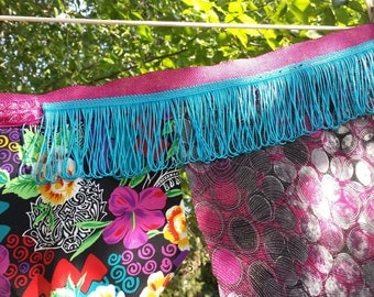 Bright Colorful Boho Gypsy upcycled swag flags