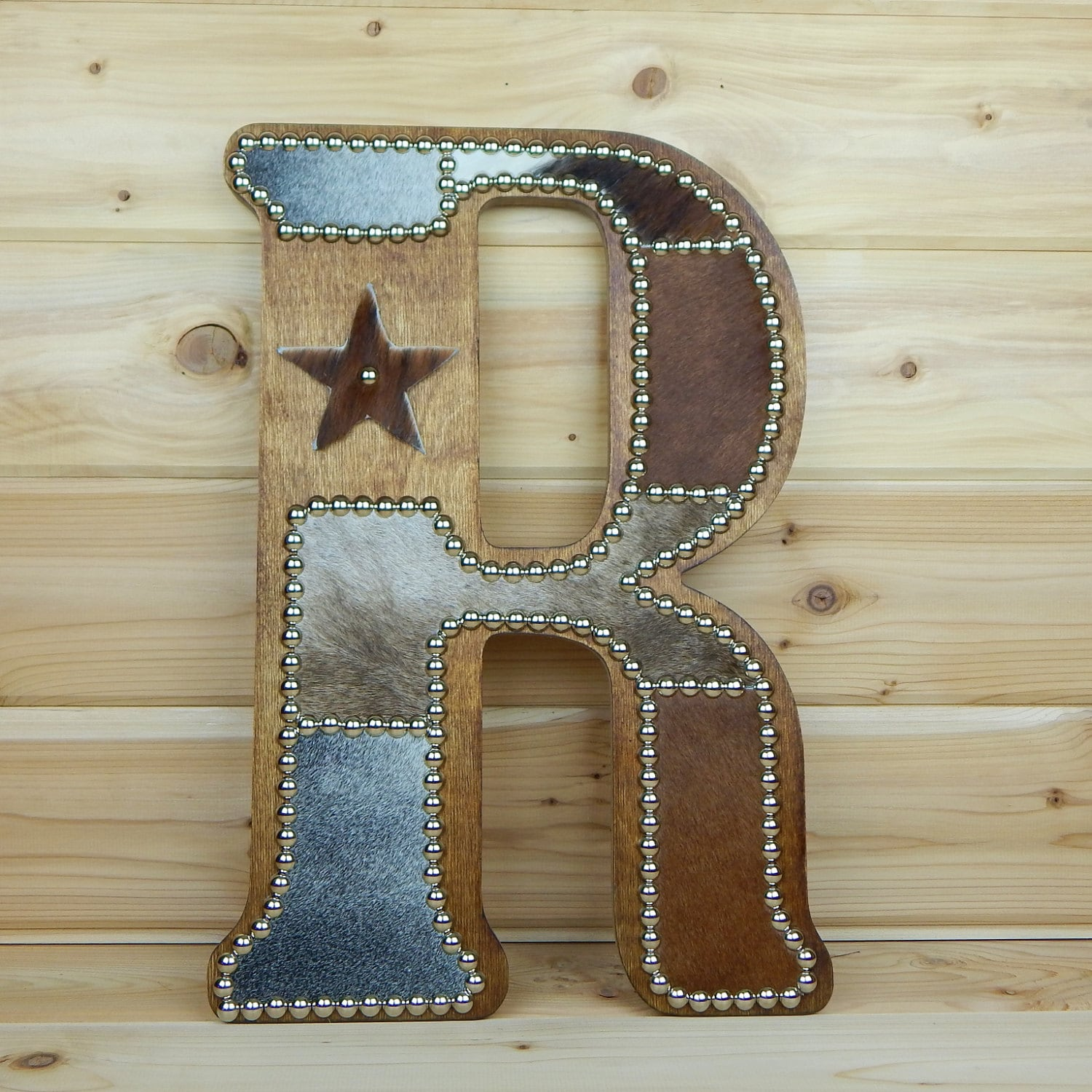 cowhide wall letter r western home decor wall by lizzyandme. Black Bedroom Furniture Sets. Home Design Ideas