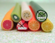 discounted seconds polymer clay fruit canes 7pcs off shaped lemon orange pink grapefruit banana kiwi