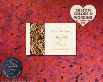 GOLD ZARI Indian Save The Date Card Pdf Wedding Invitation Set DIY Printable Template Kit Hindu Muslim Sikh Jain Boho Chic Royal Rajasthan