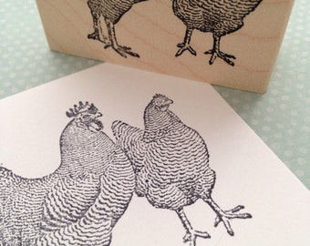 Pair of Fowl Wood Mounted Rubber Stamp 1681