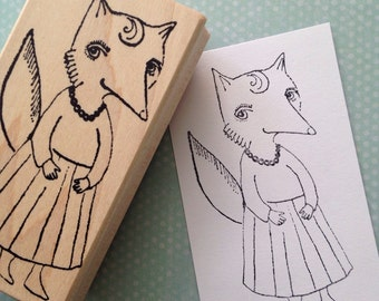 Foxy Lady  Wood Mounted Rubber Stamp