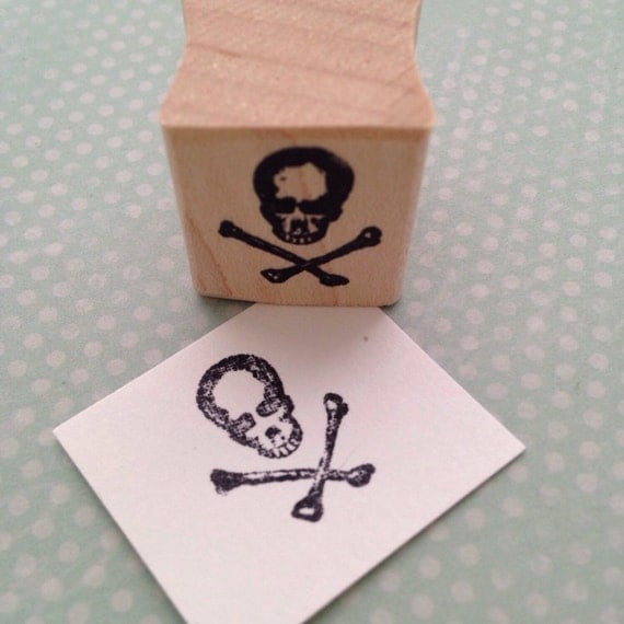 Tiny Skull and Cross Bones  Wood Mounted Rubber Stamp 352