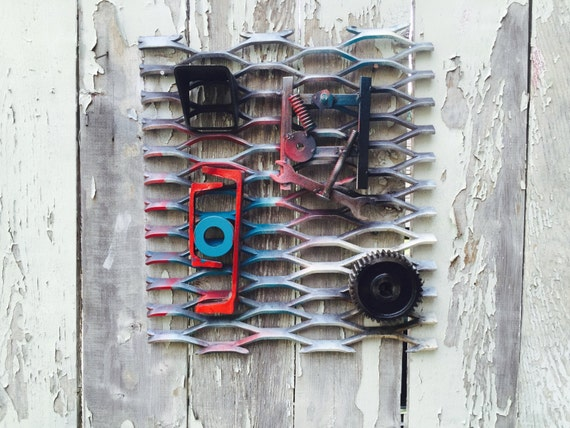 Distressed Abstract Industrial Steel Wall Art