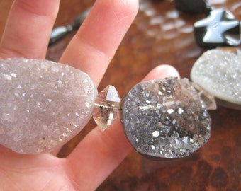 Rough Drusy Herkimer Diamond Statement Necklace Spectacular Gem Rock Artisan Handcrafted Jewelry Exquisite Top Quality Sparkling Druzy